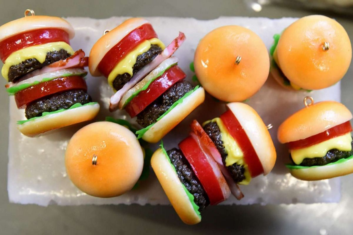 Fake Food Hatanaka also makes fake food fashion accessories, such as plastic hamburger earrings, fruit earrings, fried egg rings and bacon slice headbands.