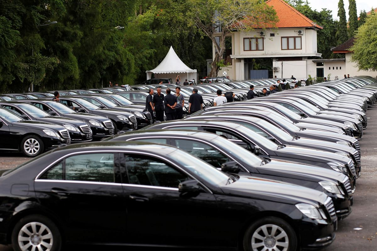 Rows of limousines in the luxury resort area of Nusa Dua all ready to chauffeur the Saudi King and his entourage around Bali.