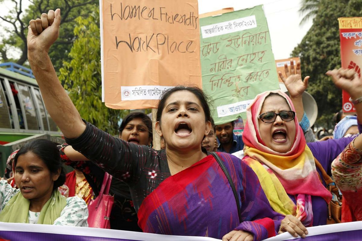 Bangladeshi garment workers speak out against poor working conditions at a rally on Wednesday (March 8) in Dhaka organised by the Sommilito Garments Sromik Federation, a trade union comprising 100,000 members.