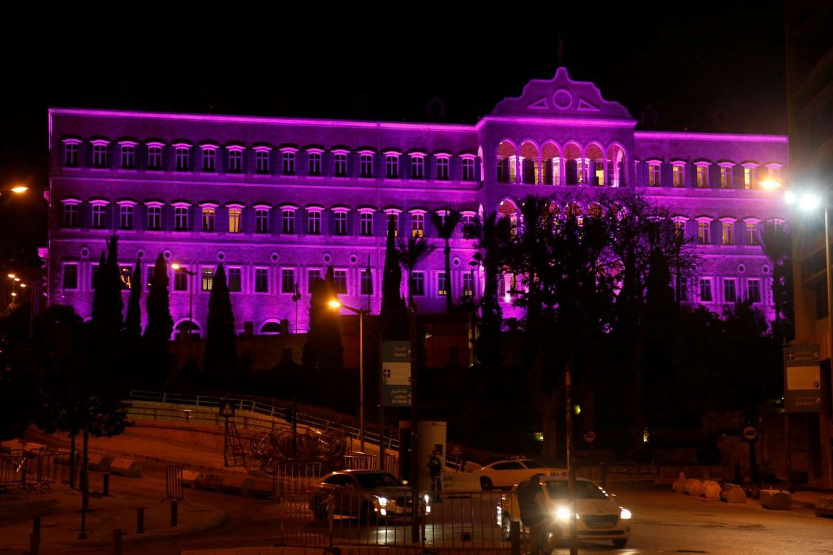 The Grand Serail government palace in Beirut, Lebanon, is illuminated purple as women's rights activists, including students and writers, plan a march that will begin at Sassine square on Saturday (March 11).