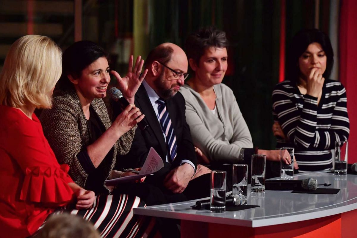 (From left) German actress Jasmin Tabatabai, German journalist Ines Pohl, Social Democratic Party chancellor candidate Martin Schulz, Turkish-German writer Hatice Akyun, and Britta Thomsen, Danish Member of the European Parliament, address an event t