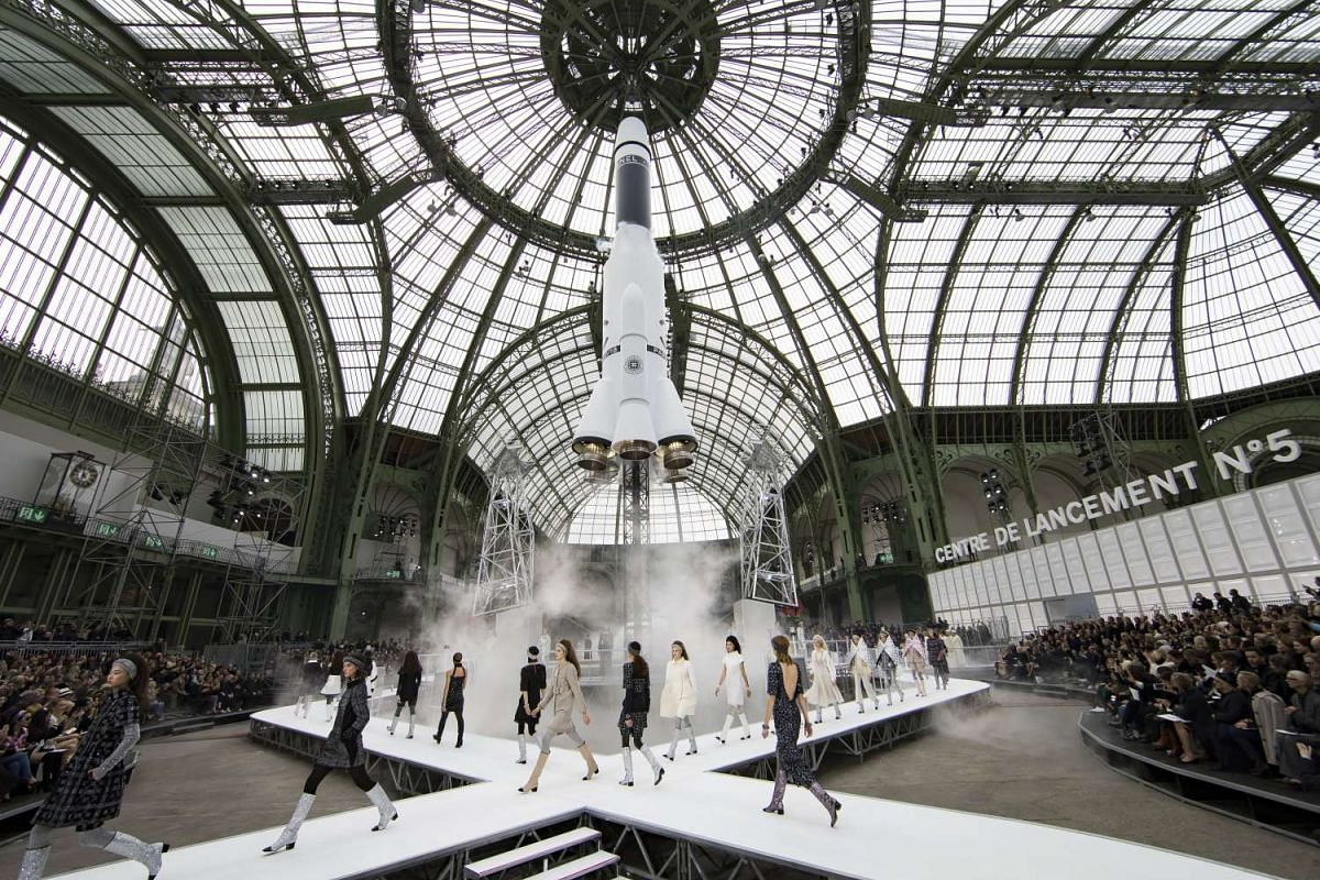 Karl Lagerfeld launched a fully Chanel-branded rocket ship in the middle of Grand Palais Hall in Paris during the close of the show.
