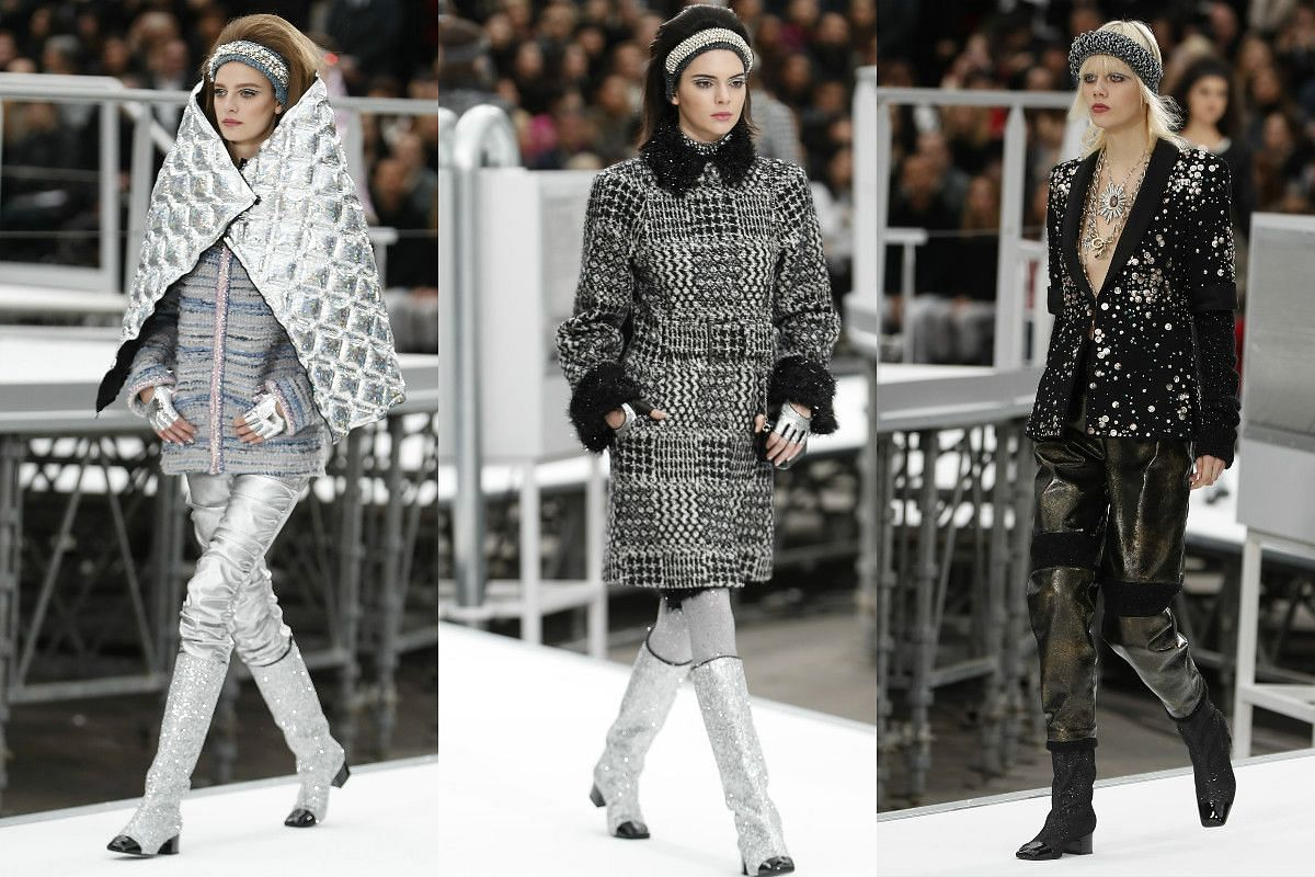 Designer Karl Lagerfeld presented a mix of galactic and 1960s-inspired style for Chanel's ready-to-wear show on the last day of Paris Fashion Week.