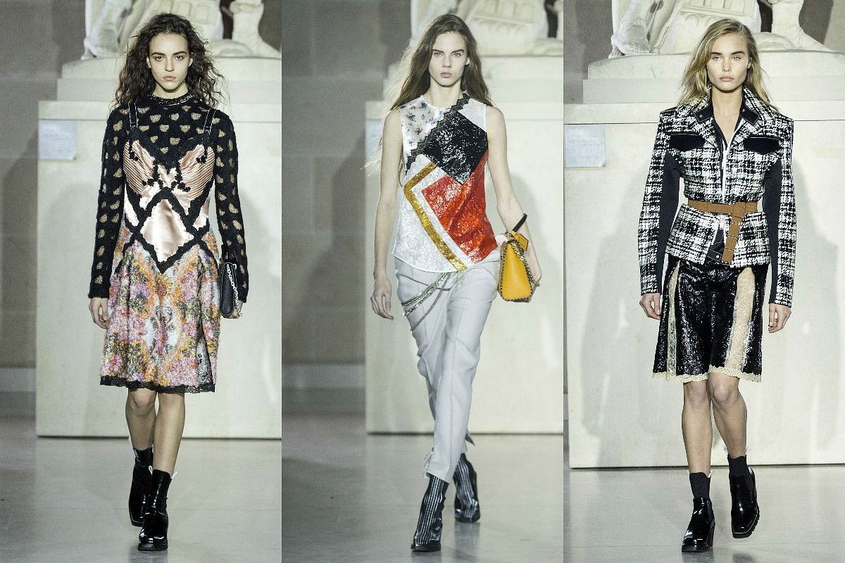 Models present creations from the Fall/Winter 2017/18 ready-to-wear collection by French designer Nicolas Ghesquiere for Louis Vuitton.