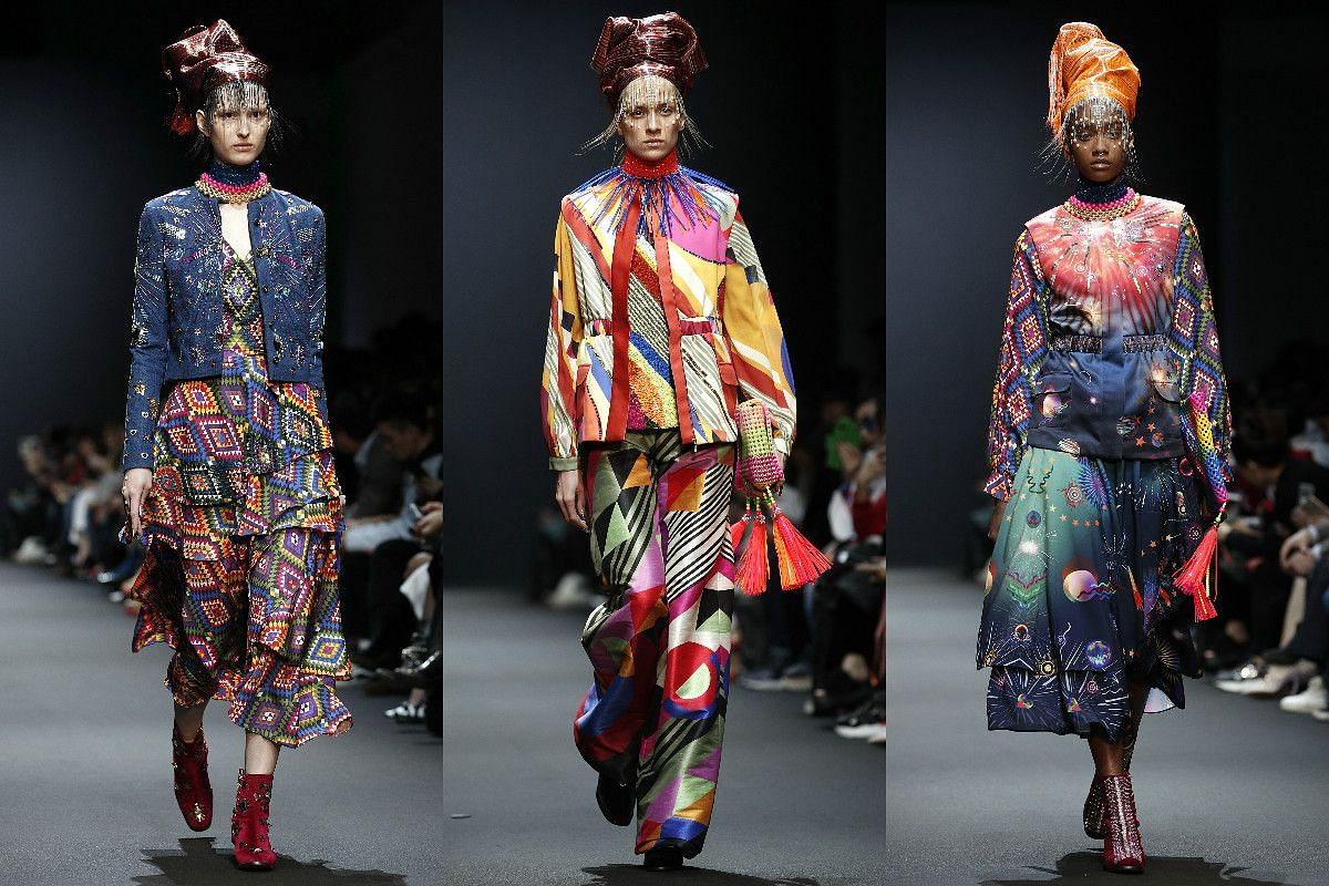 Models present creations from the Fall/Winter 2017/18 ready-to-wear collection by Indian designer Manish Arora.