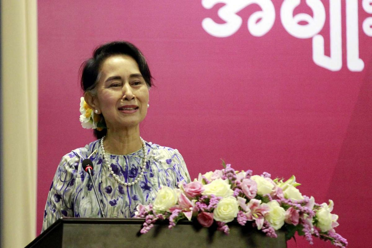 """Ms Aung San Suu Kyi speaks to women entrepreneurs at the Women's Week Opening 'Creating Inclusive Growth' Forum on Monday (March 6) in Naypyitaw, Myanmar. In her address, Ms Suu Kyi said: """"It is very much important to show the whole world our women"""