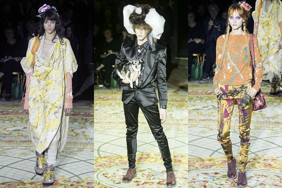 Models present creations from the Fall/Winter 2017/18 ready-to-wear collection by British designer Vivienne Westwood.