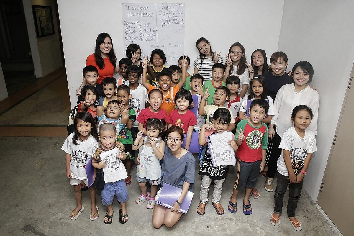 Volunteers and children from the Shining Star programme in Boon Lay. Under the programme, children from rental blocks and lower-income families are taught language skills. It is run by non-profit organisation Bringing Love to Every Single Soul and is