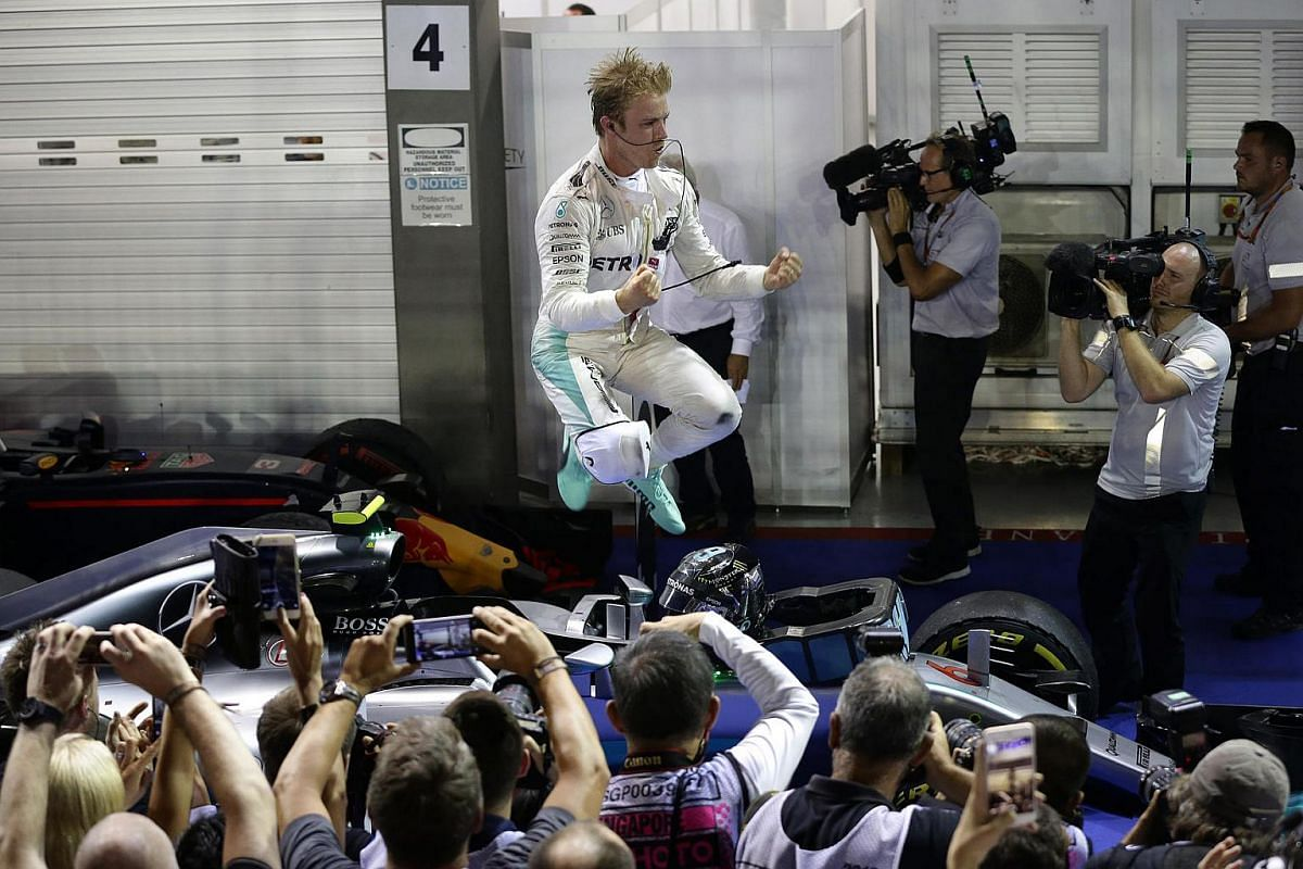 Mercedes AMG Petronas Formula One Team driver Nico Rosberg of Germany celebrates after winning the night race of the 2016 Formula One Singapore Airlines Singapore Grand Prix at the Marina Bay Street Circuit on Sept 18, 2016.