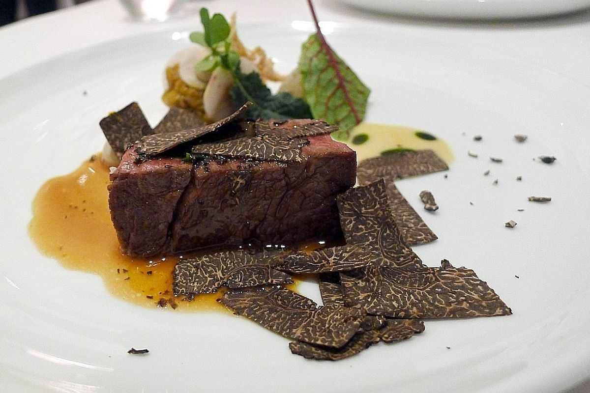 The Green Asparagus, with aromatic truffle in the sauce. The flavourful Grass-fed Beef Fillet with aubergine compote and black truffle shavings.