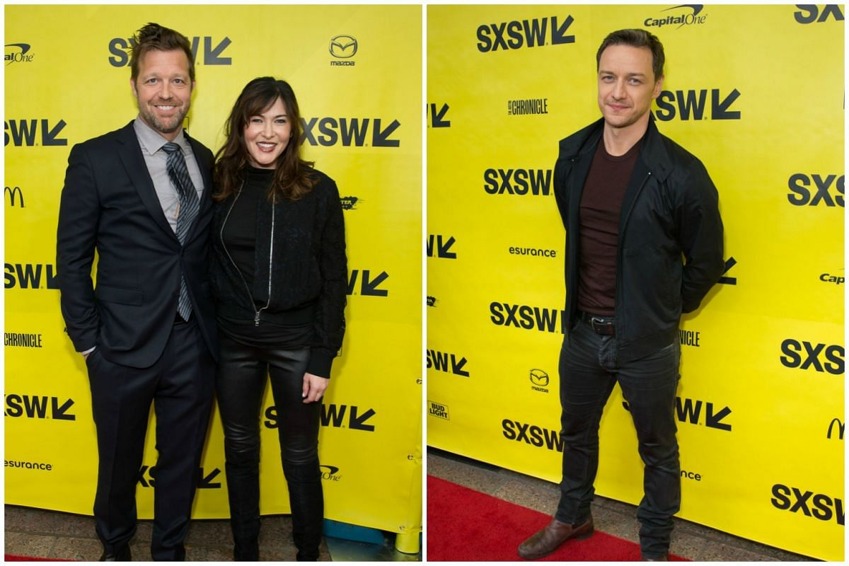 (From left) Director David Leitch, producer Kelly McCormick and actor James McAvoy arrive for the premiere of the film Atomic Blonde during The South by Southwest (SXSW) Film Conference held at the Paramount Theater on March 12, 2017 in Austin, Texas