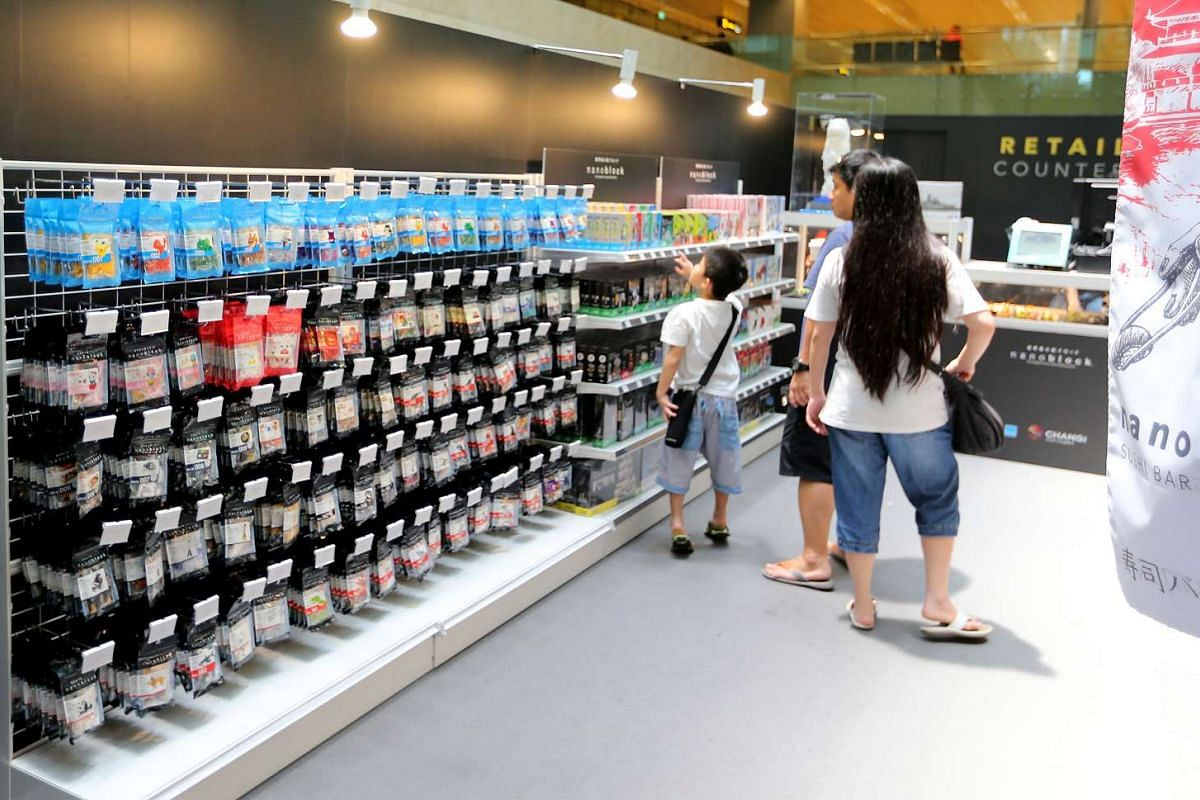 Visitors can purchase nanoblock kits to create their own designs at the retail counter.