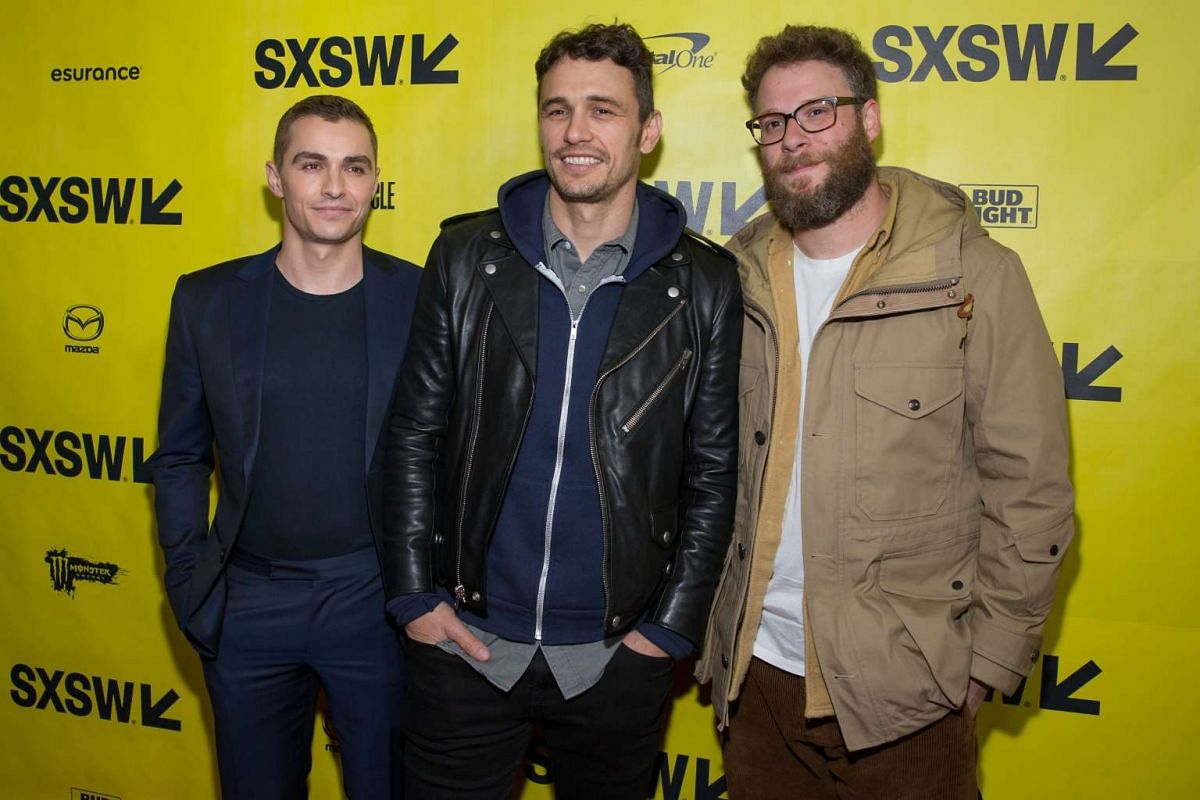 (From left) Actors Dave Franco, James Franco, and Seth Rogan arrive for the premiere of the film The Disaster Artist during The South by Southwest (SXSW) Film Conference held at the Paramount Theater on March 12, 2017 in Austin, Texas.