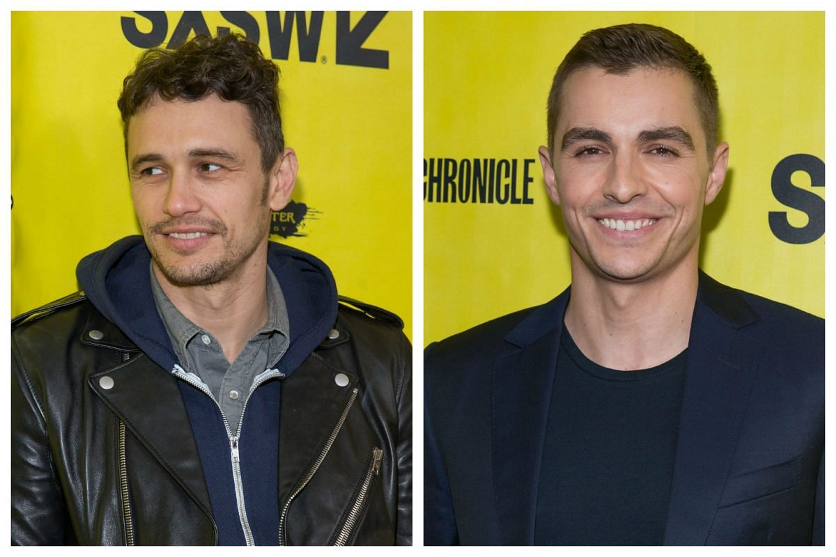 Director James Franco (left) and actor Dave Franco arrive for the premiere of the film The Disaster Artist during The South by Southwest (SXSW) Film Conference held at the Paramount Theater on March 12, 2017 in Austin, Texas.