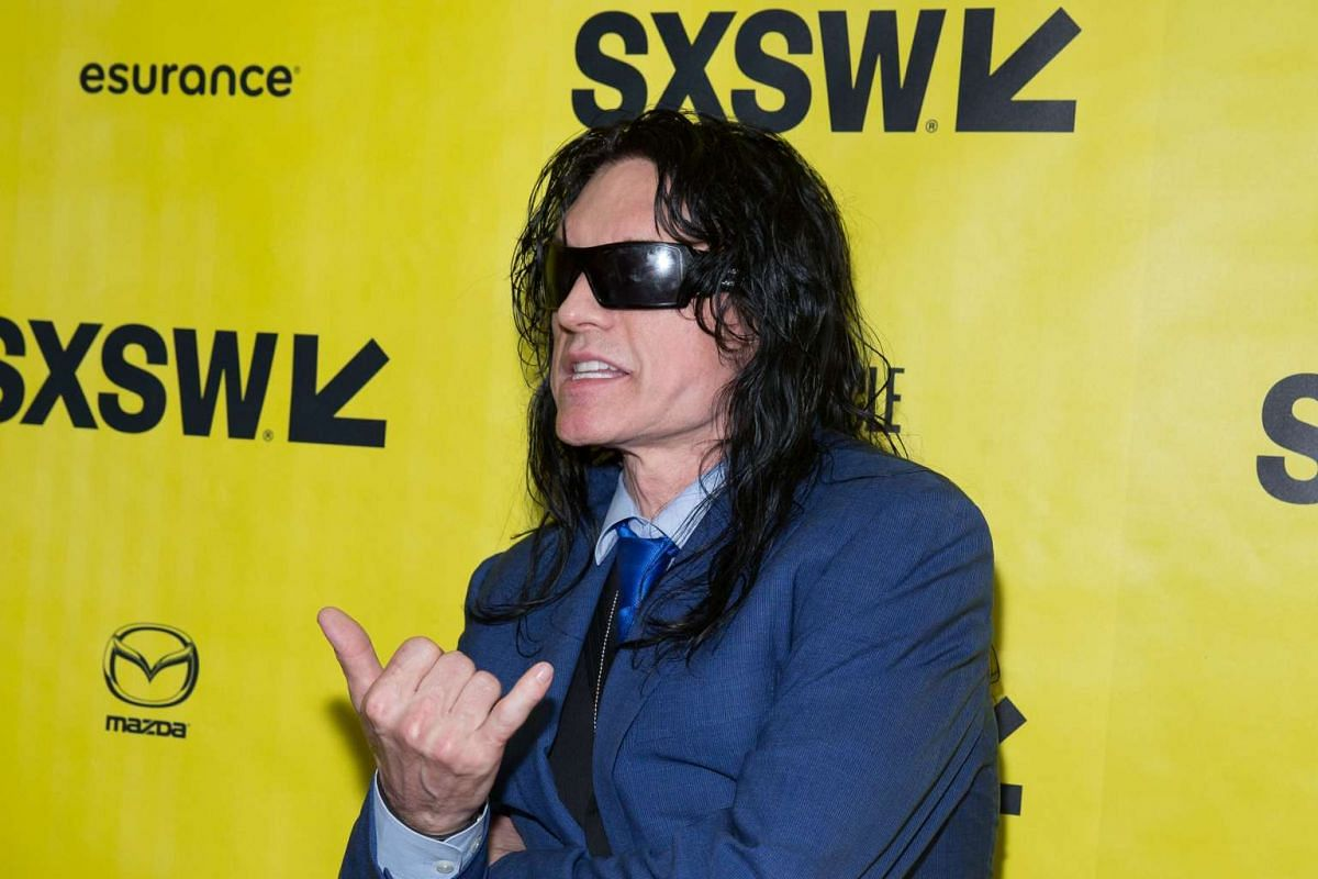Actor Tommy Wiseau poses on the red carpet for the premiere of the film The Disaster Artist during The South by Southwest (SXSW) Film Conference held at the Paramount Theater on March 12, 2017 in Austin, Texas.
