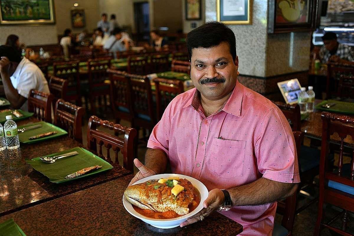Mr C. Sankaranathan, chief executive officer of Banana Leaf Apolo, and son of the restaurant's founder, Mr Chellappan.