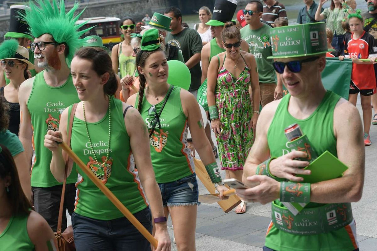 The Irish community in Singapore celebrate St. Patrick's Day with a procession marching from Empress place to UOB Plaza and with a street festival on March 19, 2017.