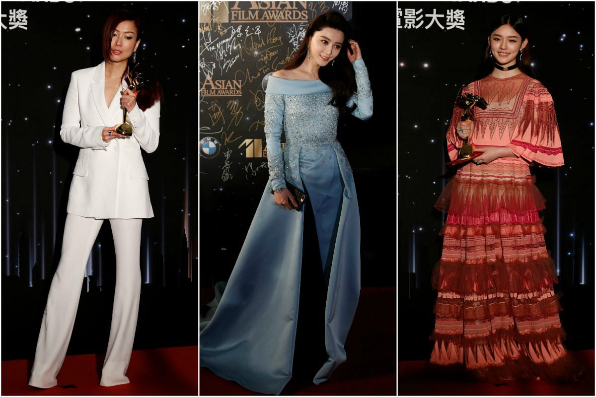 From left: Sammi Cheng won the Excellence in Asian Cinema award; Fan Bingbing won the Best Actress award; and Lin Yun took home the Rising Actor of Asia award at the Asian Film Awards in Hong Kong, March 21, 2017.