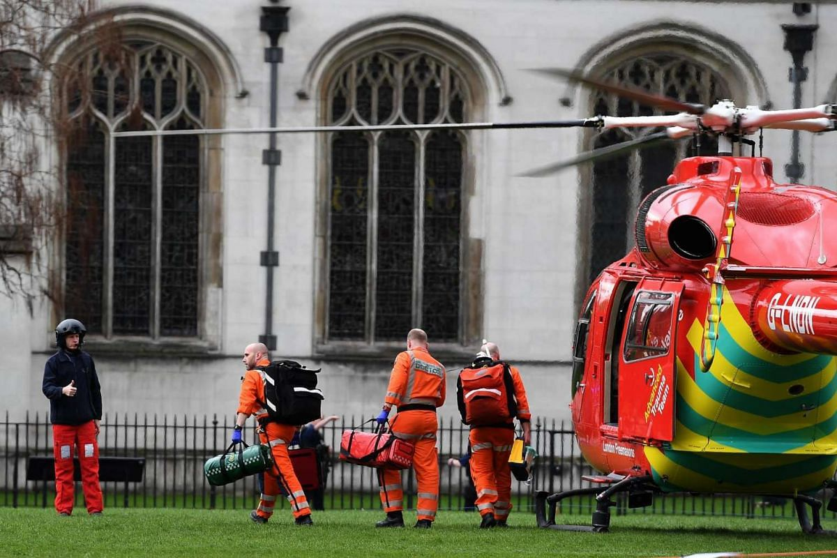 An air ambulance on Parliament Square following a major incident outside the Houses of Parliament in central London on March 22, 2017.