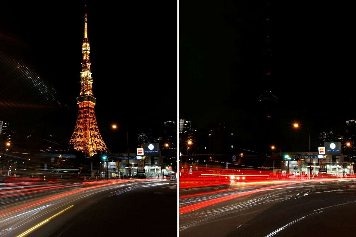 The Tokyo Tower before (left) and after its lights were switched off for Earth Hour in Tokyo, Japan on March 25, 2017.