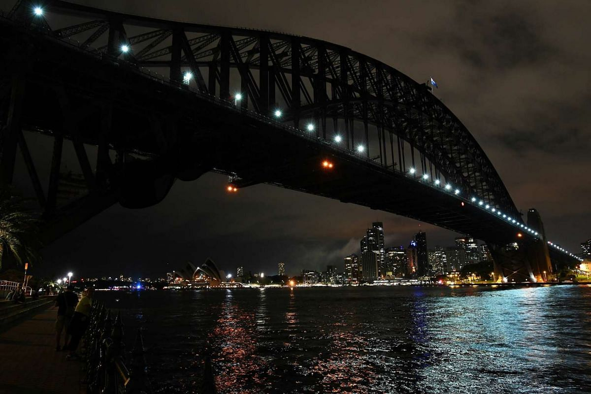 The Sydney skyline during Earth Hour in Sydney, from Milsons Point, Sydney on March 25, 2017.