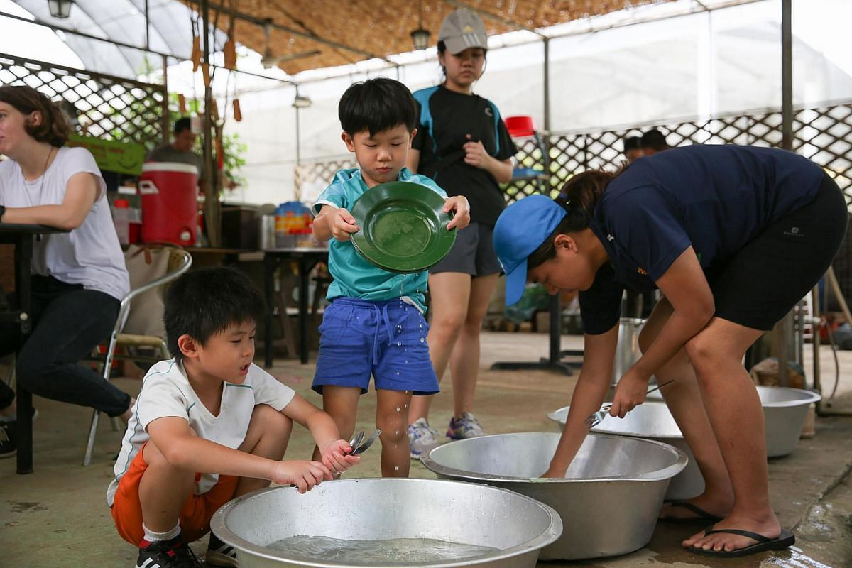 Kayden Lee (left), 8, and Joven Lee (second from left), 5, brothers and first-time visitors to Kampung Kampus, washing their own plates and cutlery after lunch. Loofah grown at Kampung Kampus is used as a scrub and Camellia seed powder is used as a w