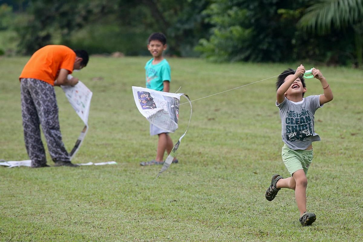 Jarius Cheong, 6, cheerily running to keep his kite flying, as his older brother, Javen Cheong, 8, looks on. In a partner programme with National Library Board, these young library visitors are flying their self-made kites in an open field. They also