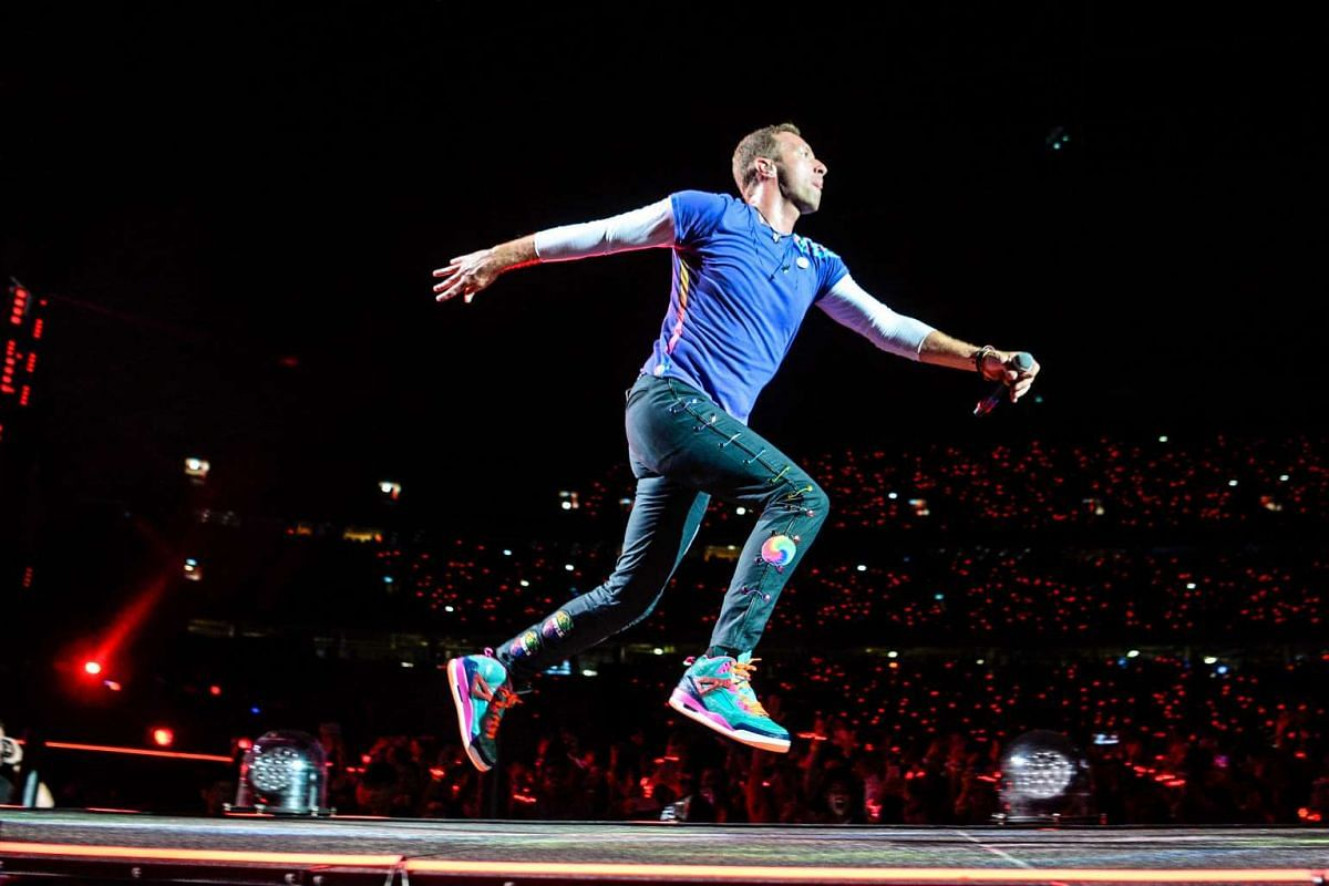 British band Coldplay performs at The National Stadium on March 31, 2017.