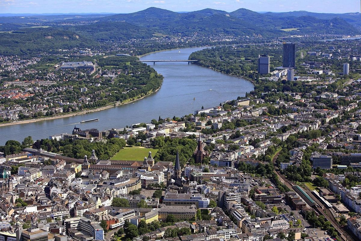 The Rhine runs through Bonn, capital of the former West Germany and birthplace of composer Ludwig van Beethoven.