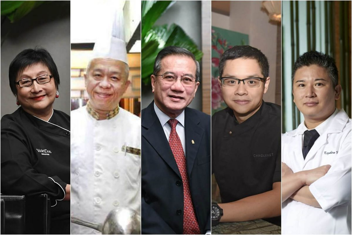 (From left) Violet Oon, Chef Kang, Mr Eric Tan, Malcolm Lee and Kazuhiro Hamamoto were among the 21 Silver winners of the Best Asian Restaurants Awards.