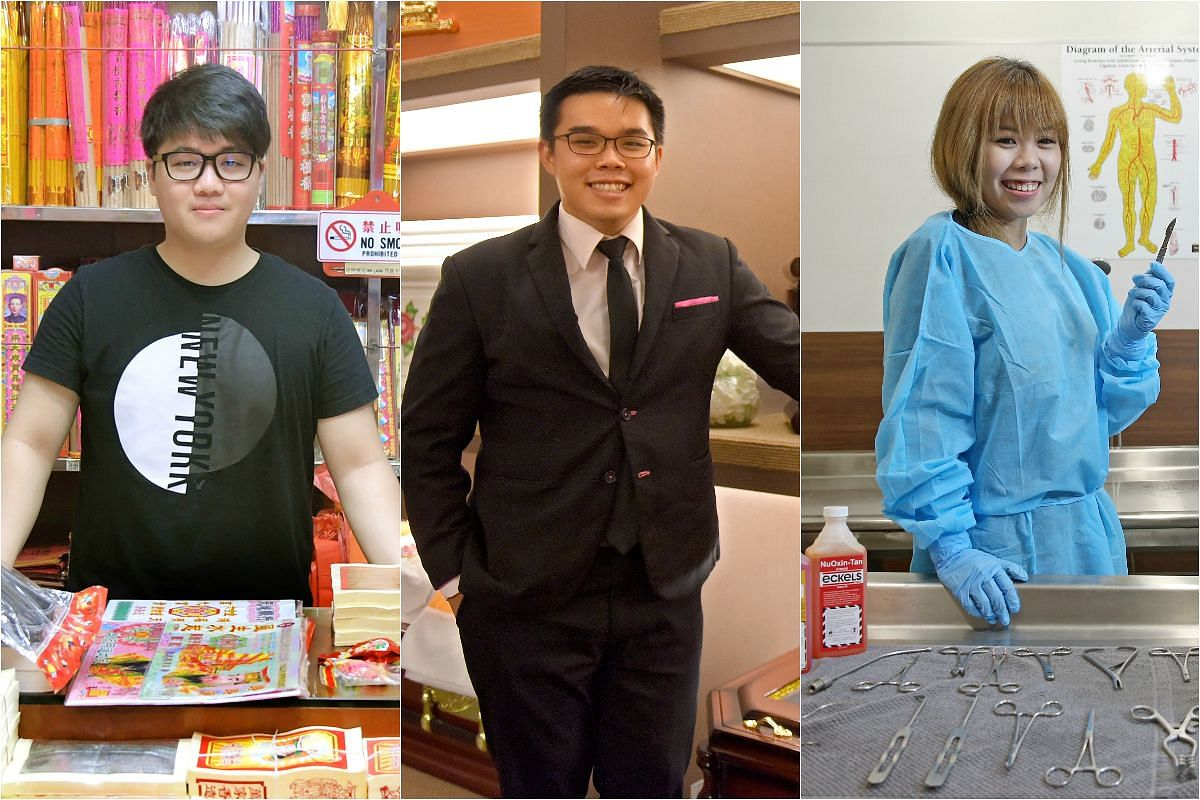 (From left) Alex Teo, 29, Lyndon Leong, 25 and Nicole Chong, 22, are just some of the millennials involved in the funeral business.