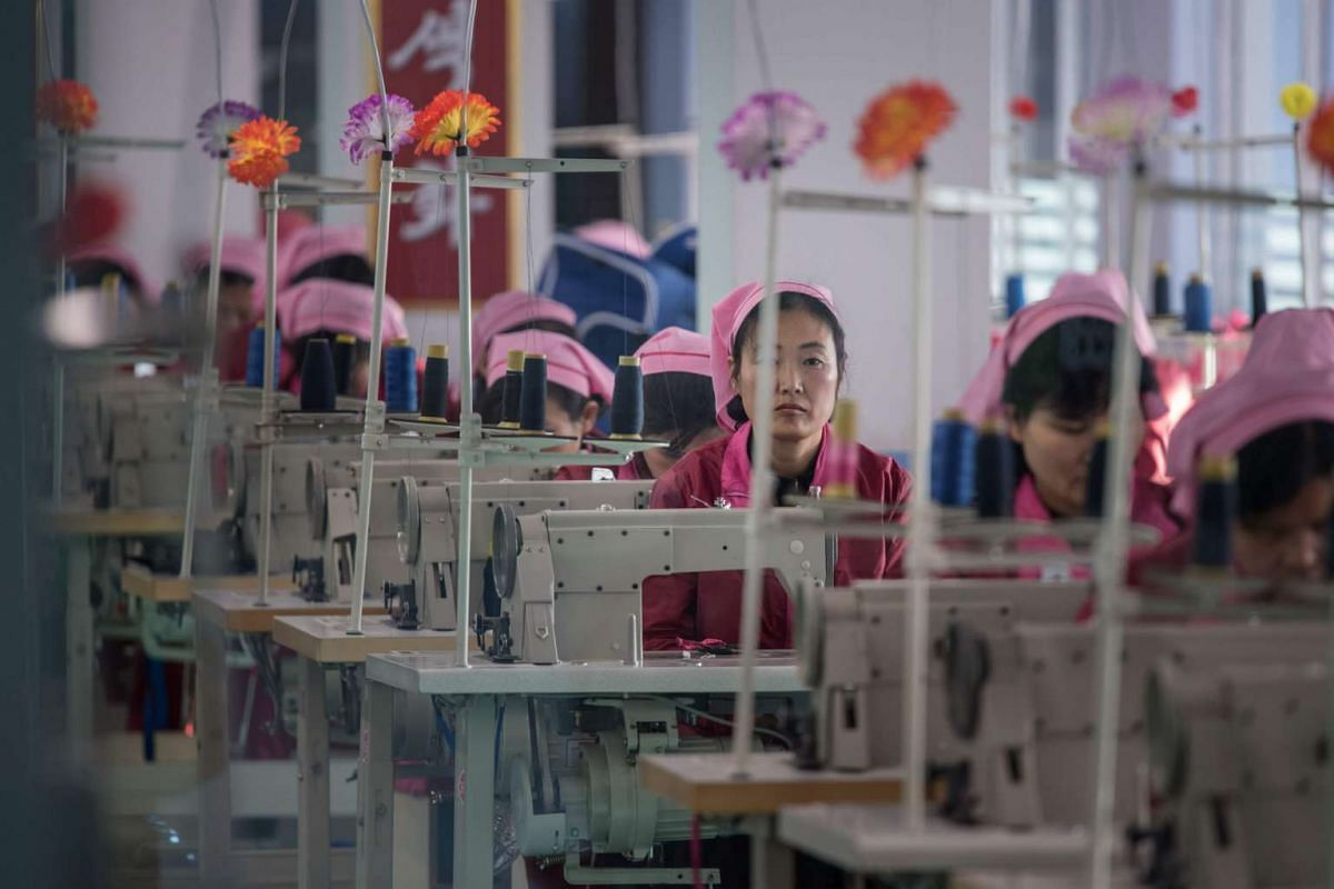 A woman looks up from a sewing machine in a workroom at the 'Pyongyang Bag Factory' in Pyongyang, North Korea. / AFP