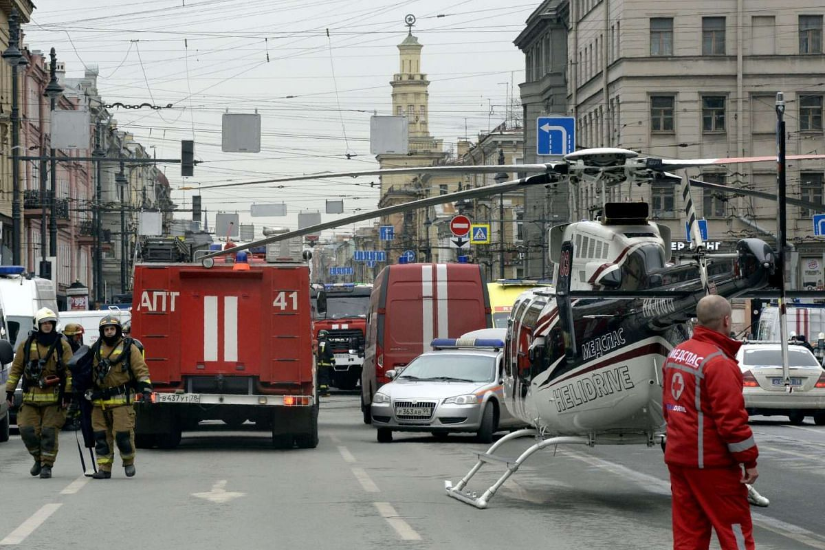 Emergency services personnel and vehicles are seen at the entrance to the Technological Institute metro station.