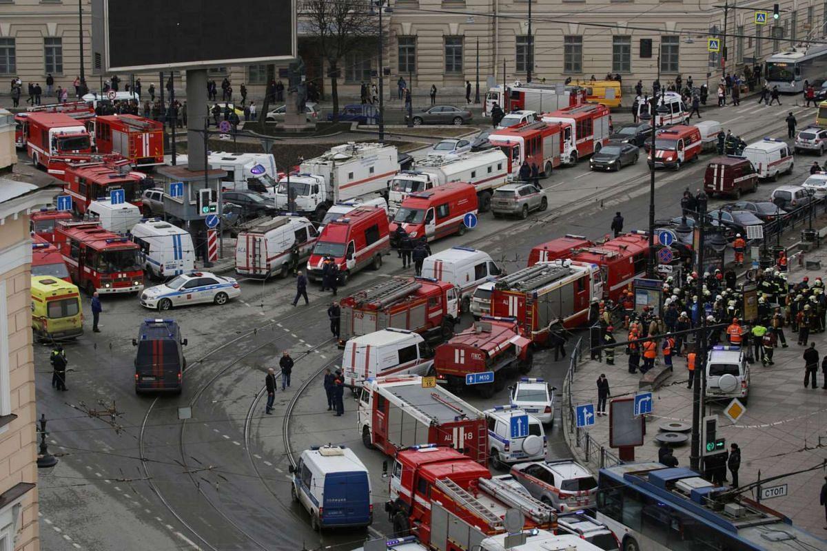 Emergency services attending the scene outside the Sennaya Ploshchad metro station.