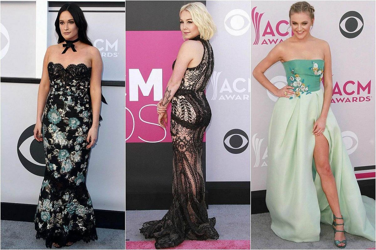From left: Singers Kacey Musgraves, RaeLynn and Kelsea Ballerini pose as they arrive for the 52nd Academy of Country Music Awards.