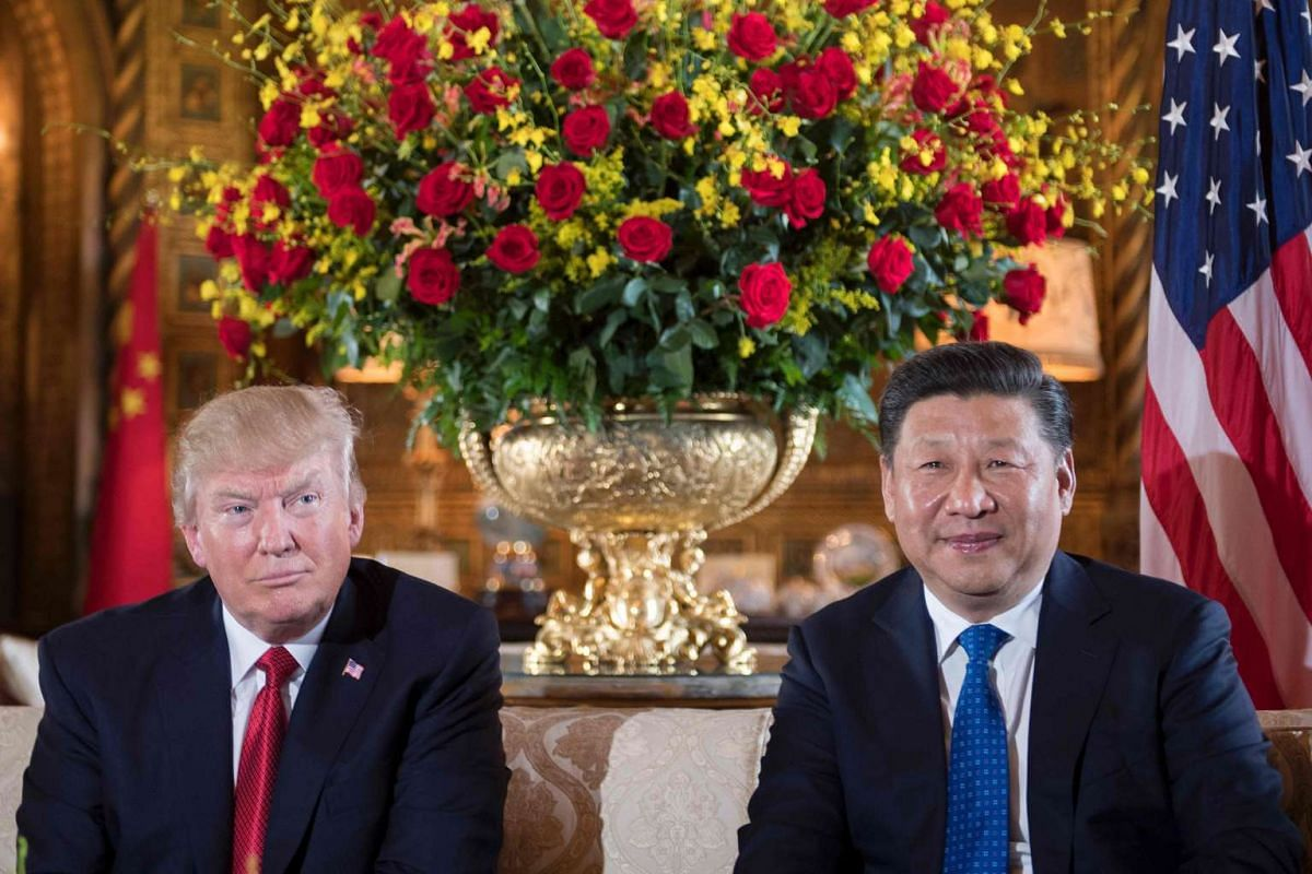 US President Donald Trump (left) with Chinese President Xi Jinping during a bilateral meeting at the Mar-a-Lago estate in West Palm Beach, Florida, on April 6, 2017.