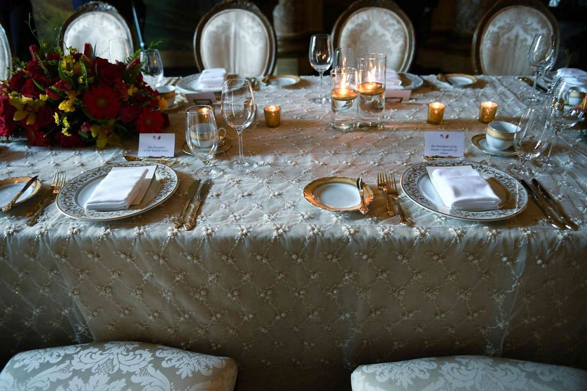 The place setting for US President Donald Trump and Chinese President Xi Jinping for their dinner at the Mar-a-Lago estate in West Palm Beach, Florida, on April 6, 2017.