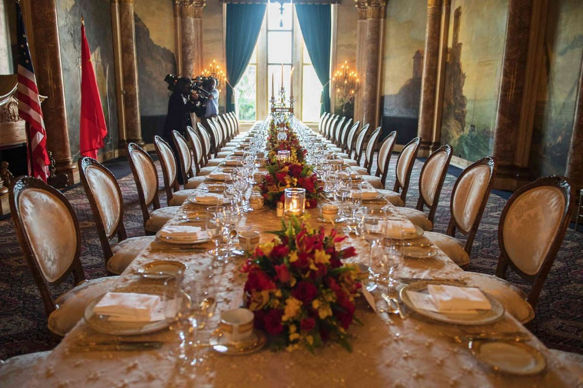 The table setting for US President Donald Trump and Chinese President Xi Jinping's dinner at the Mar-a-Lago estate in West Palm Beach, Florida, on April 6, 2017.