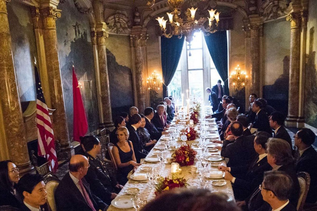 US President Donald Trump hosting Chinese President Xi Jinping for a dinner at Trump's Mar-a-Lago resort in Palm Beach, Florida, on April, 6, 2017.