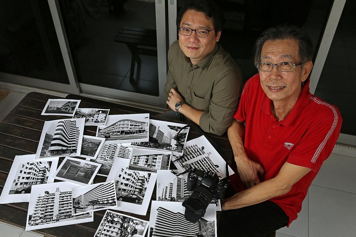 This public housing block at Upper Pickering Street has been torn down, but was captured on film by hobbyist photographer Koh Kim Chay (right, in red, here with fellow photographer Eugene Ong).