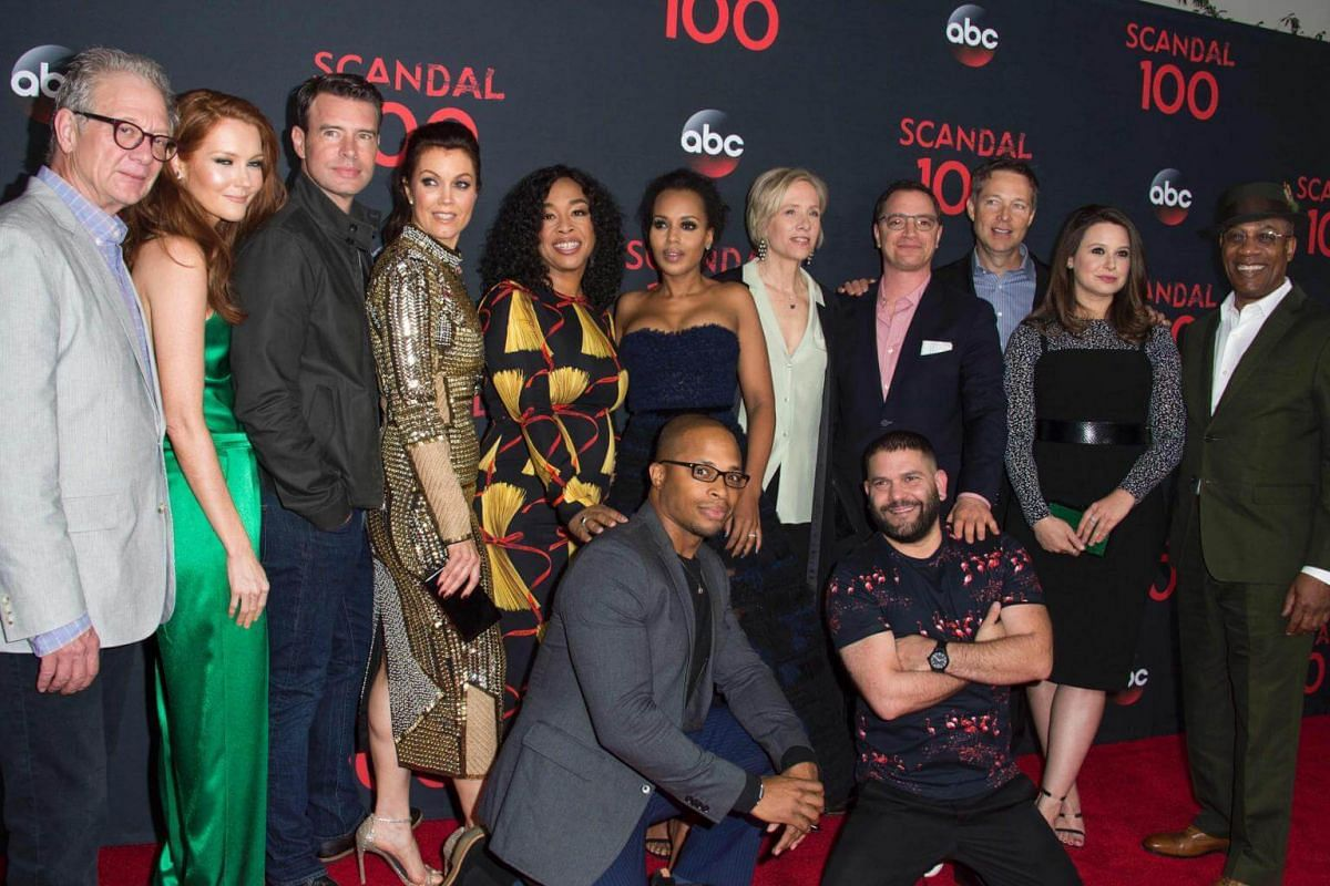 The cast of Scandal: (Back row, from left) Jeff Perry, Darby Stanchfield, Scott Foley, Bellamy Young, Shondra Rhimes, Kerry Washington, Betsy Beers, Joshua Malina, George Newborn, Katie Lowes and Joe Morton. (Front row, from left) Cornelius Smith Jr,