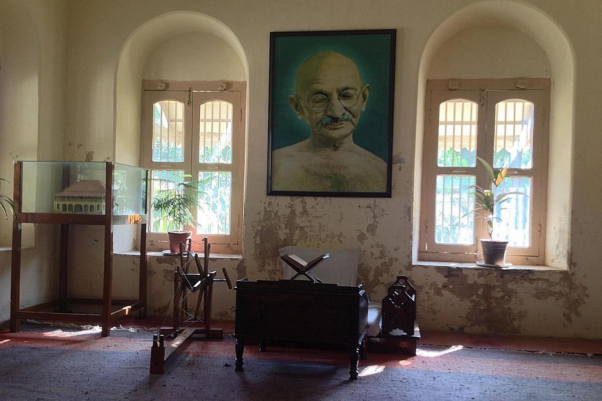 Mahatma Gandhi's bedroom, office and spindle spinning wheel (above); his ashram in Ahmedabad (left); and salt-collecting in Little Rann of Kutch (below).