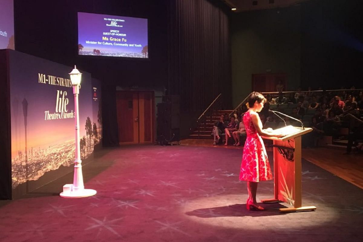 Minister for Culture, Community and Youth Grace Fu delivers the keynote speech at the the M1-The Straits Times Life Theatre Awards 2017.