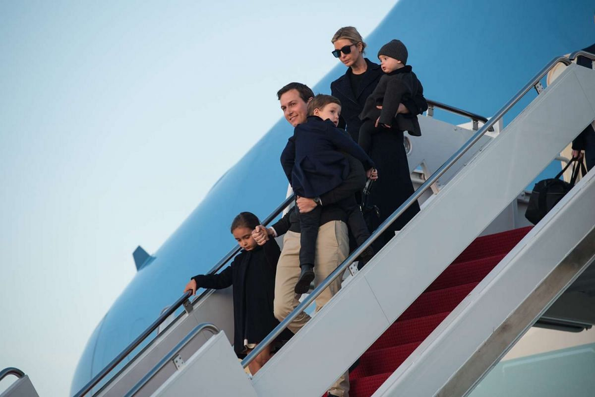 Senior White House adviser Jared Kushner and his wife Ivanka Trump step off Air Force One with their children Arabella (L), Joseph (C) and Theodore at Andrews Air Force Base in Maryland, on March 5, 2017.