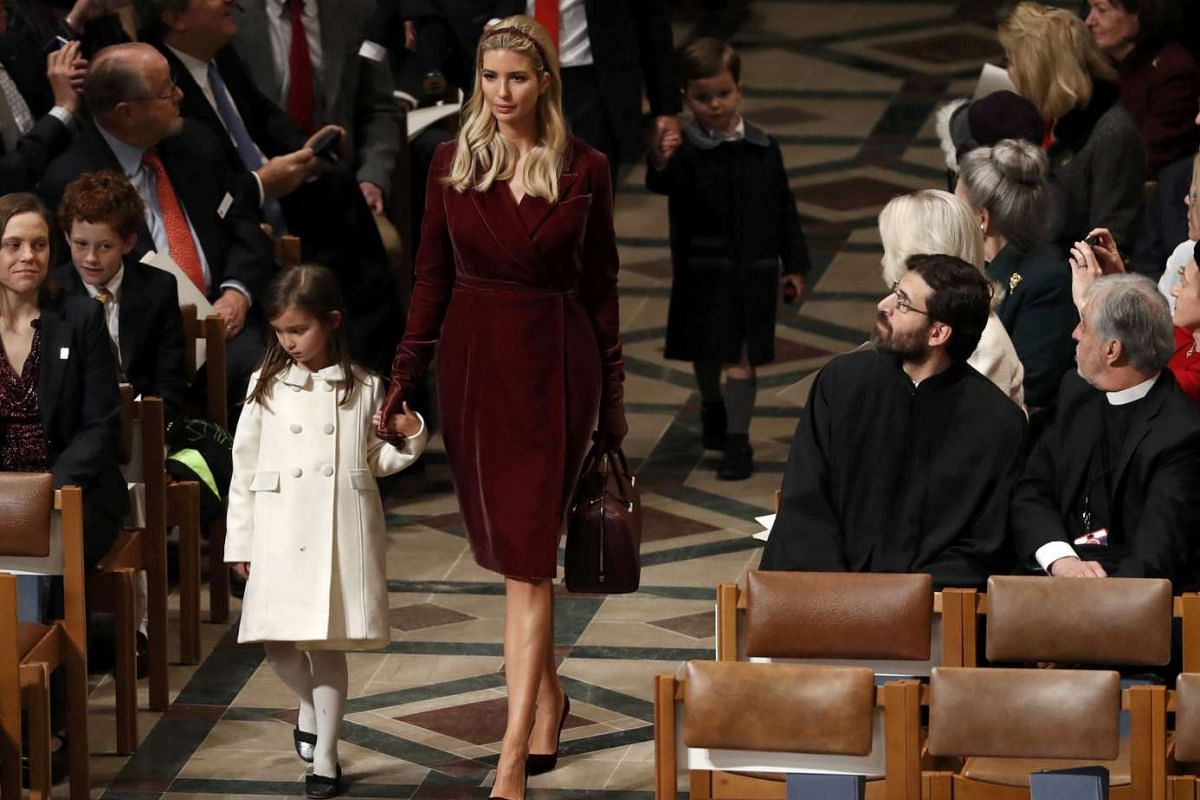 Ivanka Trump and daughter Arabella Rose Kushner arrive for a prayer service with US President Donald Trump at Washington National Cathedral the morning after his inauguration, in Washington, January 21, 2017.