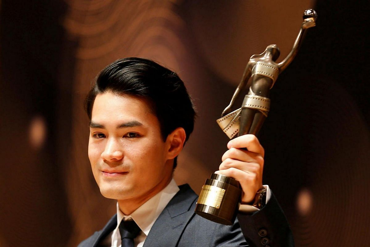 Director Wong Chun poses after winning the Best New Director award for Mad World at the Hong Kong Film Awards on April 9, 2017.