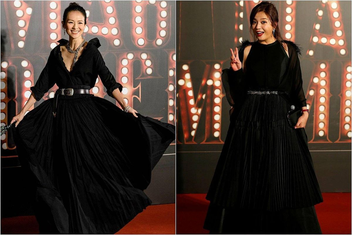 Actresses Zhang Ziyi (left) and Zhao Wei pose on the red carpet at the Hong Kong Film Awards on April 9, 2017.