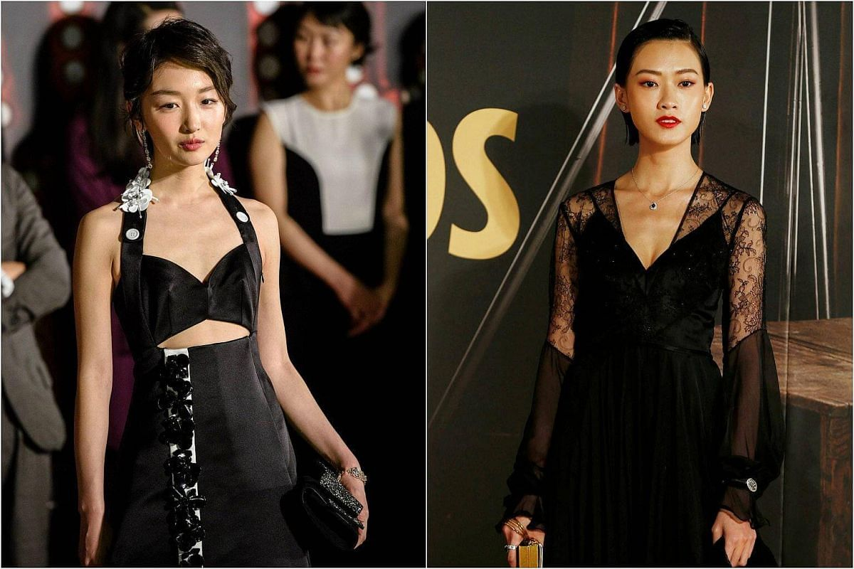 Chinese actress Zhou Dongyu (left), nominated for Best Actress for Soul Mate, and Fish Liew, nominated for Best Supporting Actress, on the red carpet at the Hong Kong Film Awards on April 9, 2017.