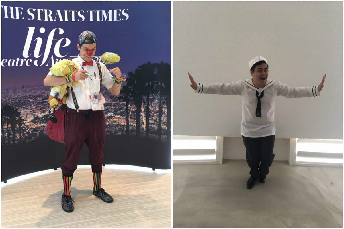 Actors Mitchell Lagos (left) as Buzz from The Wild Party and Crenshaw Yeo, who will appear in La Cage by Wild Rice, as a sailor from old time musical On the Town.