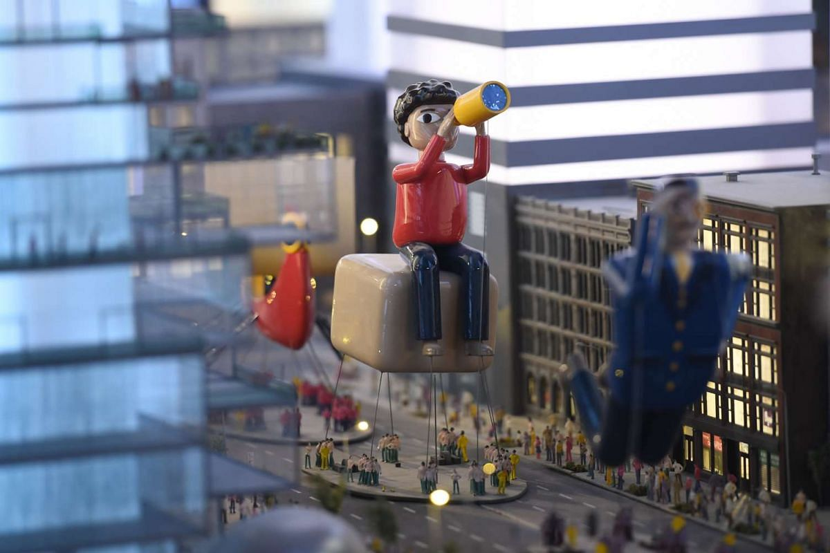 A miniature model of Macy's Parade in New York.